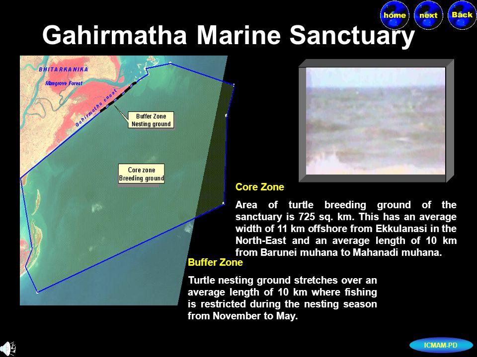 ICMAM-PD Gahirmatha Marine Sanctuary Core Zone Area of turtle breeding ground of the sanctuary is 725 sq.