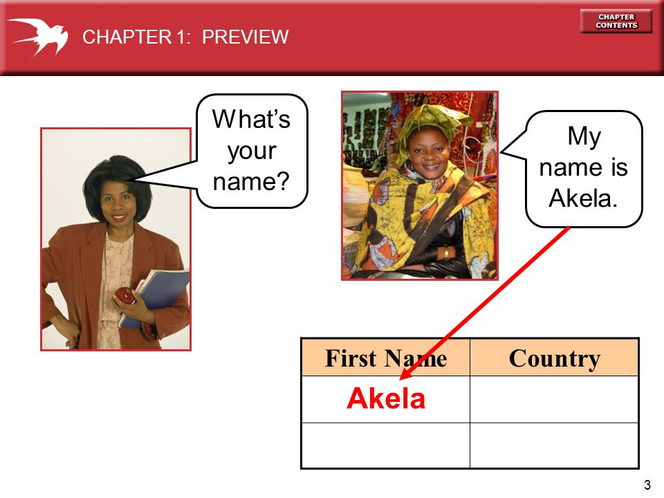 3 First NameCountry My name is Akela. CHAPTER 1: PREVIEW Whats your name Akela