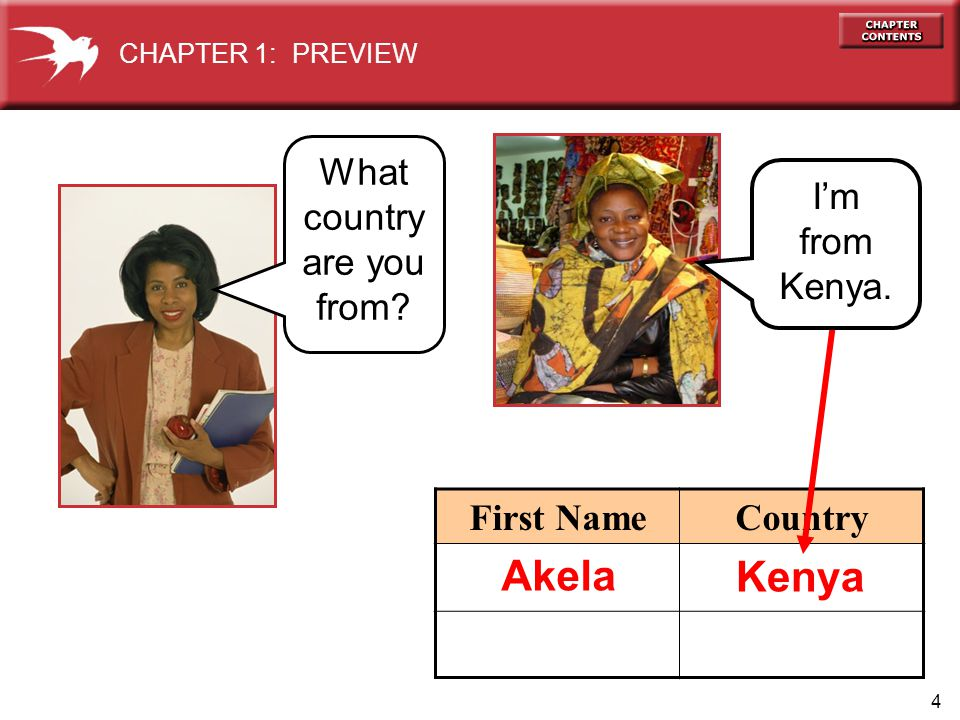 4 First NameCountry CHAPTER 1: PREVIEW Kenya What country are you from Akela Im from Kenya.