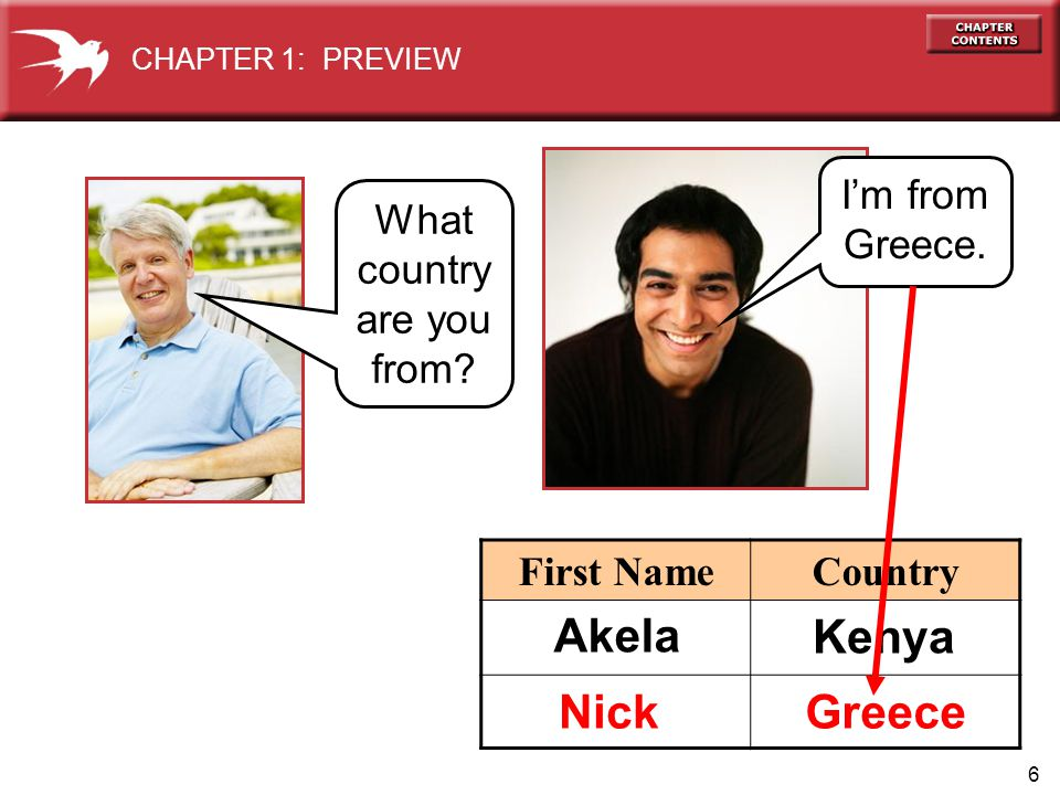 6 CHAPTER 1: PREVIEW Greece What country are you from.