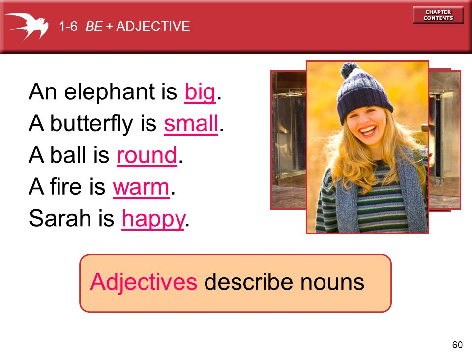 60 1-6 BE + ADJECTIVE Adjectives describe nouns An elephant is big.