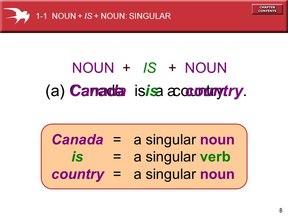 8 (a) Canada is a country.