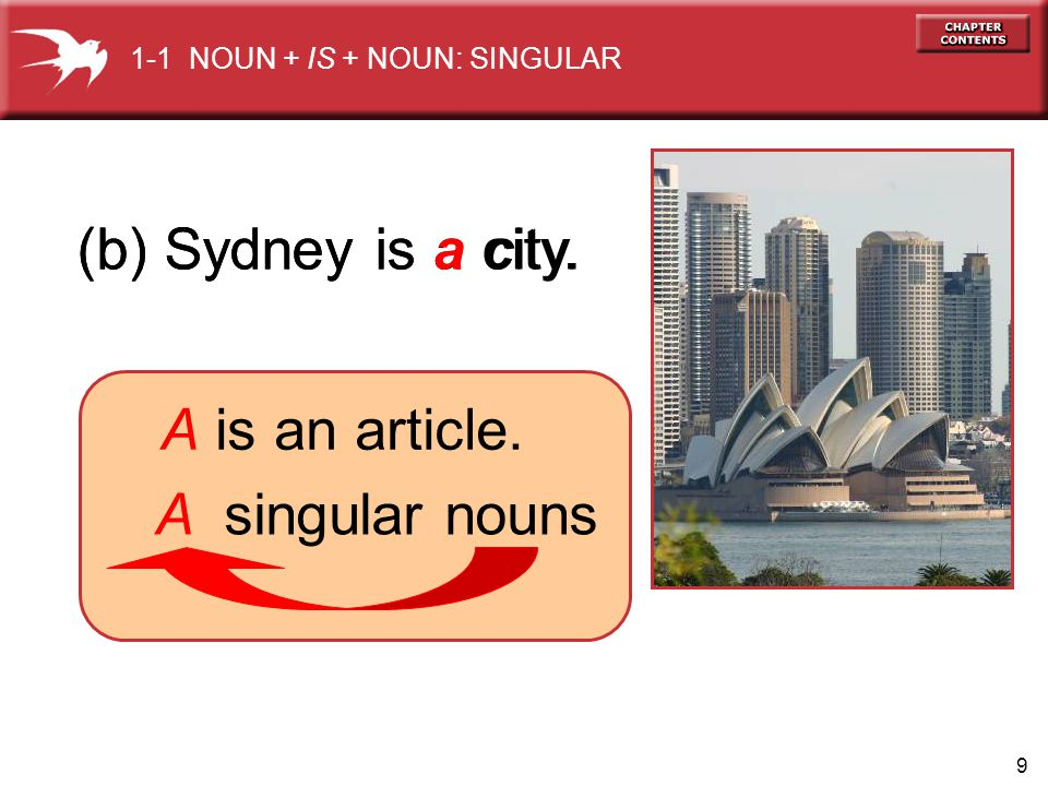 9 (b) Sydney is a city. 1-1 NOUN + IS + NOUN: SINGULAR A is an article. A singular nouns