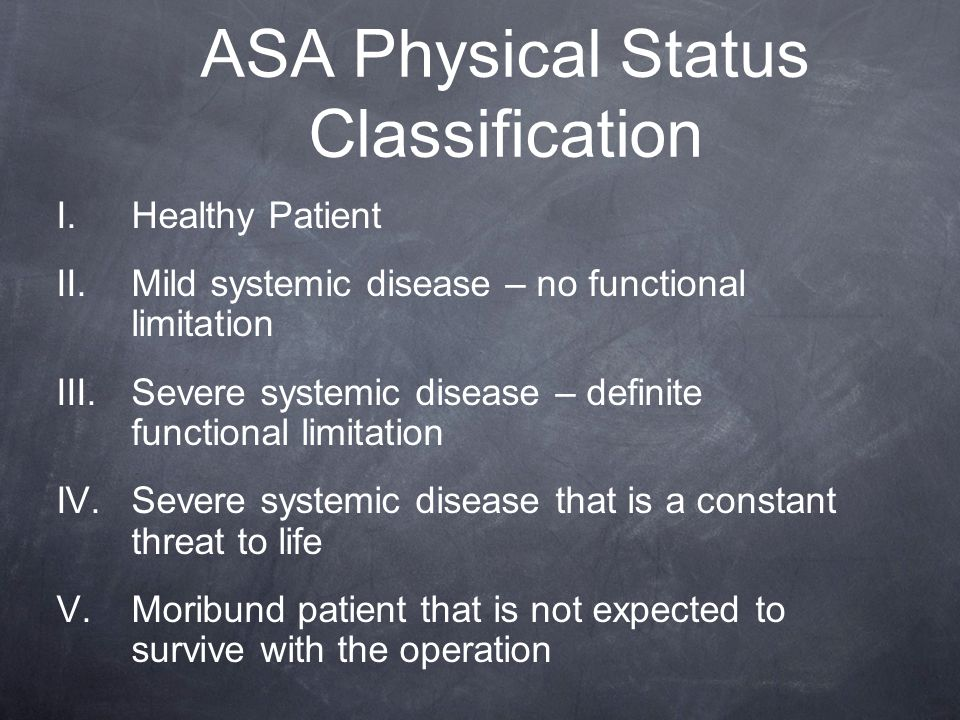 ASA Physical Status Classification I. Healthy Patient II. Mild systemic disease – no functional limitation III. Severe systemic disease – definite fun