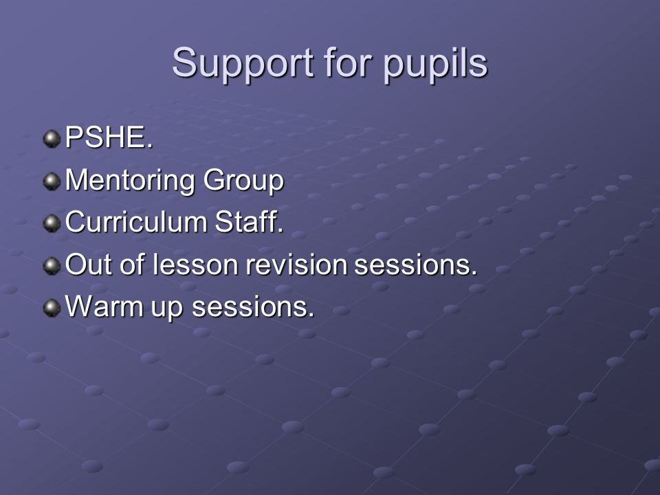 Support for pupils PSHE. Mentoring Group Curriculum Staff.