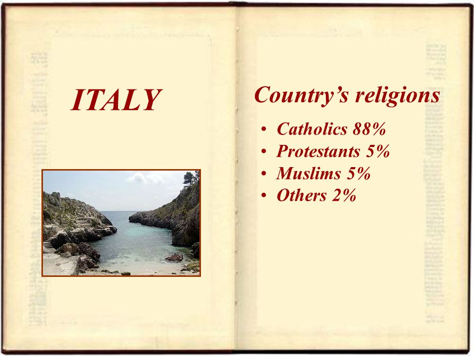 ITALY Catholics 88% Protestants 5% Muslims 5% Others 2% Countrys religions