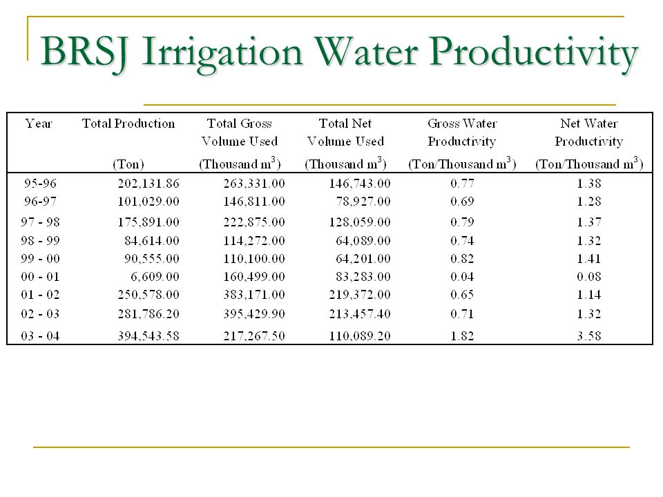 BRSJ Irrigation Water Productivity