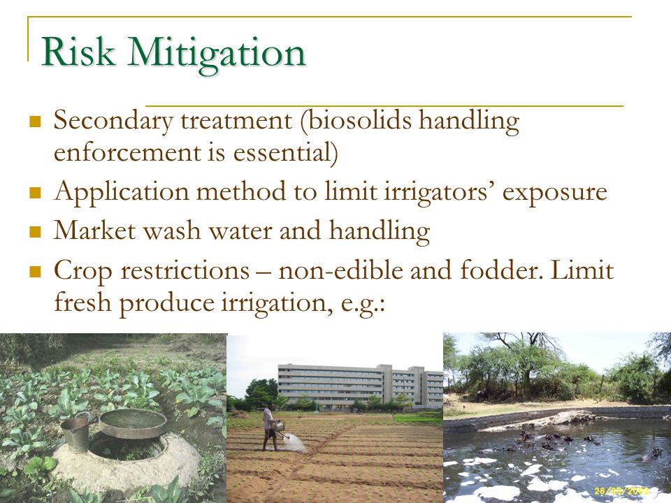 Risk Mitigation Secondary treatment (biosolids handling enforcement is essential) Application method to limit irrigators exposure Market wash water an
