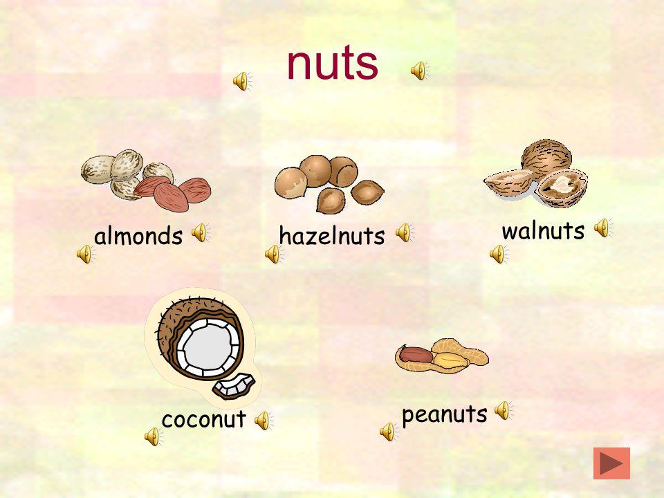 nuts almondshazelnuts walnuts peanuts coconut