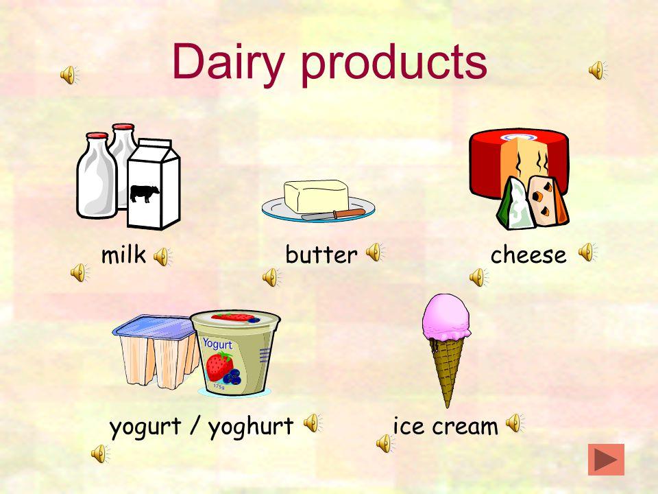 Dairy products milkbuttercheese yogurt / yoghurtice cream