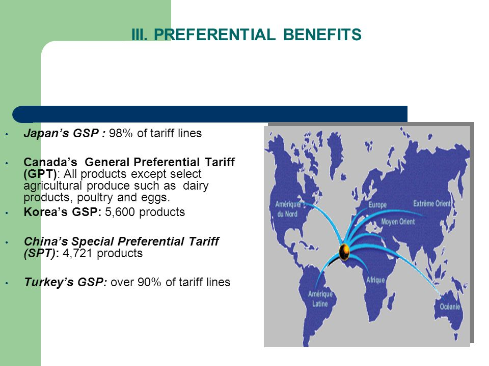 III. PREFERENTIAL BENEFITS Japans GSP : 98% of tariff lines Canadas General Preferential Tariff (GPT): All products except select agricultural produce