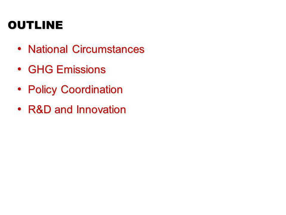 OUTLINE National Circumstances National Circumstances GHG Emissions GHG Emissions Policy Coordination Policy Coordination R&D and Innovation R&D and Innovation