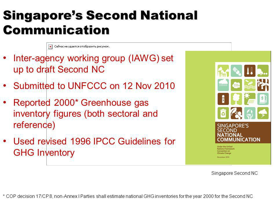 Singapores Second National Communication Inter-agency working group (IAWG) set up to draft Second NC Submitted to UNFCCC on 12 Nov 2010 Reported 2000* Greenhouse gas inventory figures (both sectoral and reference) Used revised 1996 IPCC Guidelines for GHG Inventory Singapore Second NC * COP decision 17/CP.8, non-Annex I Parties shall estimate national GHG inventories for the year 2000 for the Second NC
