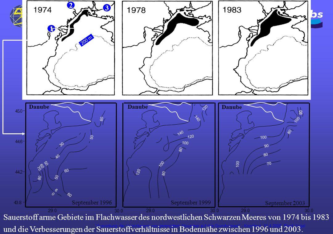 Auswirkung der Versickerung von gereinigtem Abwasser auf das Grundwasser - Konstanz, 11.4.2000; Birgit Vogel 1 2 3 200 m 29.0 30.0 29.030.0 43.8 44.2 44.6 45.0 Danube September 1996 80 70 60 50 60 6060 50 40 30 Danube September 1999 100 120 140 80 29.030.0 September 2003 Danube 100 90 80 70 Sauerstoff arme Gebiete im Flachwasser des nordwestlichen Schwarzen Meeres von 1974 bis 1983 und die Verbesserungen der Sauerstoffverhältnisse in Bodennähe zwischen 1996 und 2003.