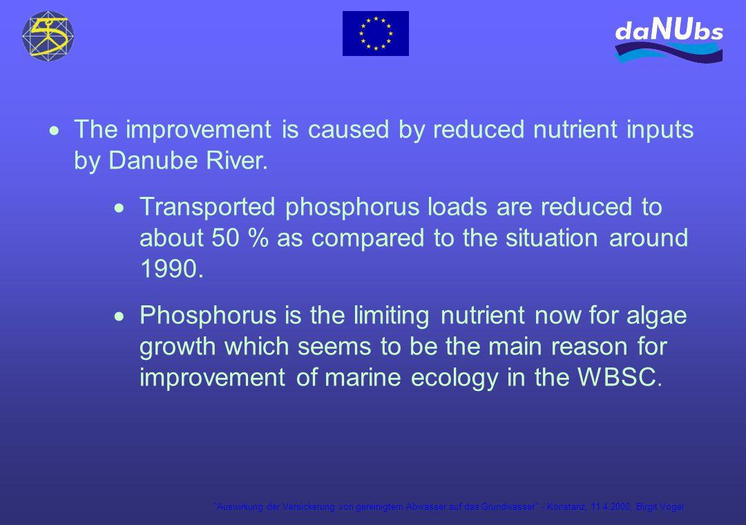 Auswirkung der Versickerung von gereinigtem Abwasser auf das Grundwasser - Konstanz, 11.4.2000; Birgit Vogel The improvement is caused by reduced nutrient inputs by Danube River.