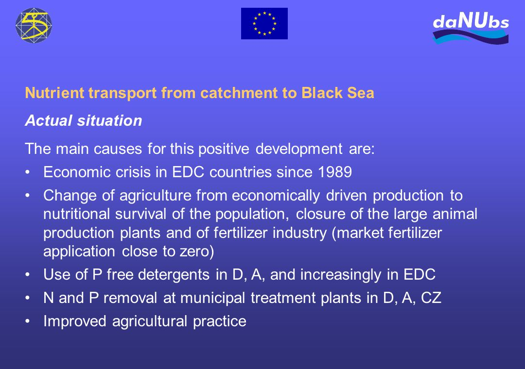 Nutrient transport from catchment to Black Sea Actual situation The main causes for this positive development are: Economic crisis in EDC countries since 1989 Change of agriculture from economically driven production to nutritional survival of the population, closure of the large animal production plants and of fertilizer industry (market fertilizer application close to zero) Use of P free detergents in D, A, and increasingly in EDC N and P removal at municipal treatment plants in D, A, CZ Improved agricultural practice