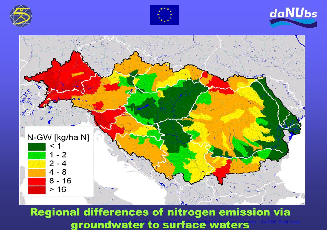Auswirkung der Versickerung von gereinigtem Abwasser auf das Grundwasser - Konstanz, 11.4.2000; Birgit Vogel Regional differences of nitrogen emission via groundwater to surface waters