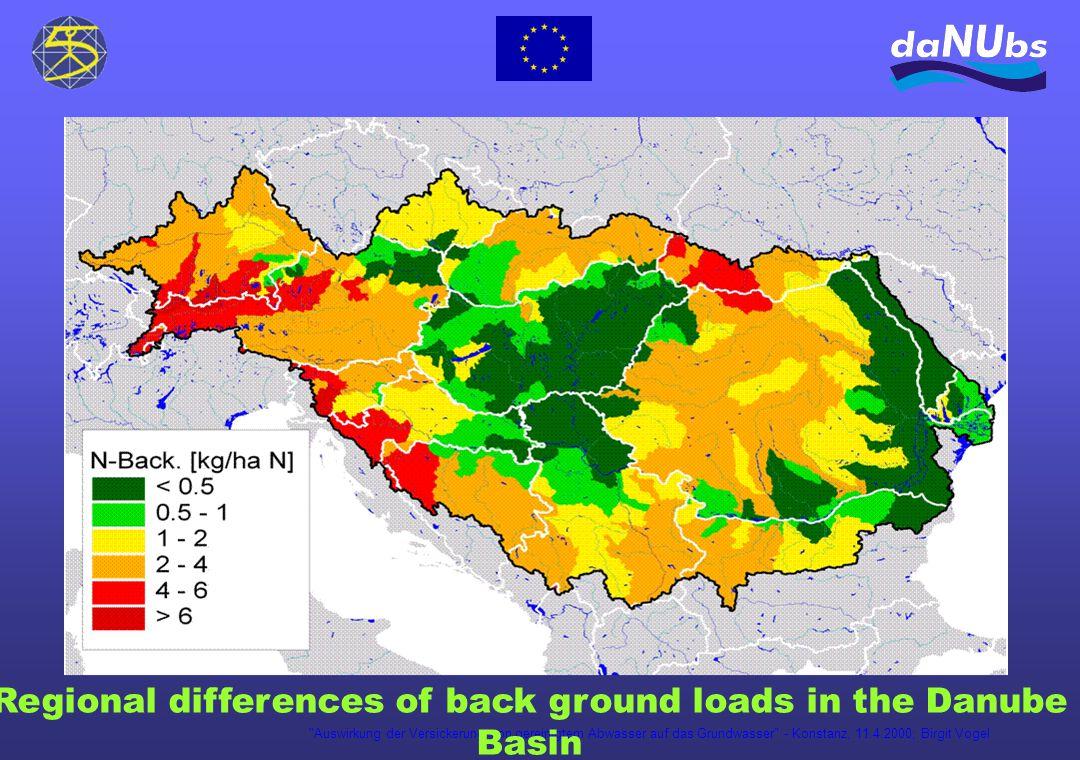 Auswirkung der Versickerung von gereinigtem Abwasser auf das Grundwasser - Konstanz, 11.4.2000; Birgit Vogel Regional differences of back ground loads in the Danube Basin