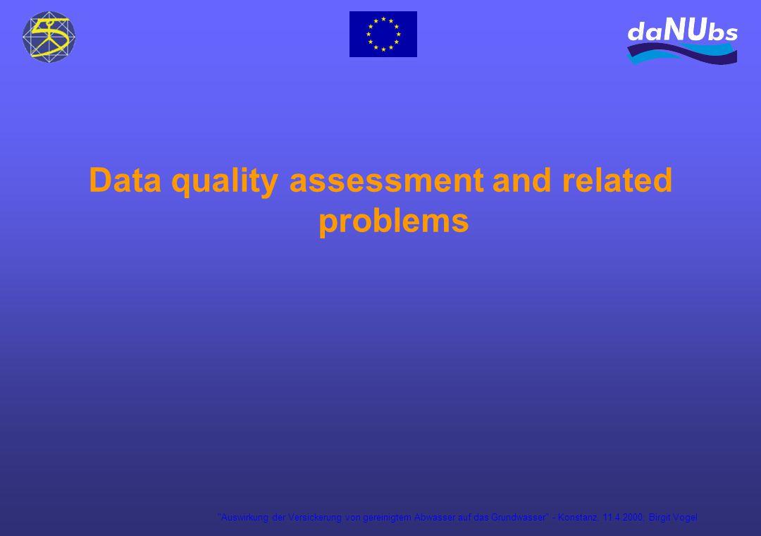 Auswirkung der Versickerung von gereinigtem Abwasser auf das Grundwasser - Konstanz, 11.4.2000; Birgit Vogel Data quality assessment and related problems