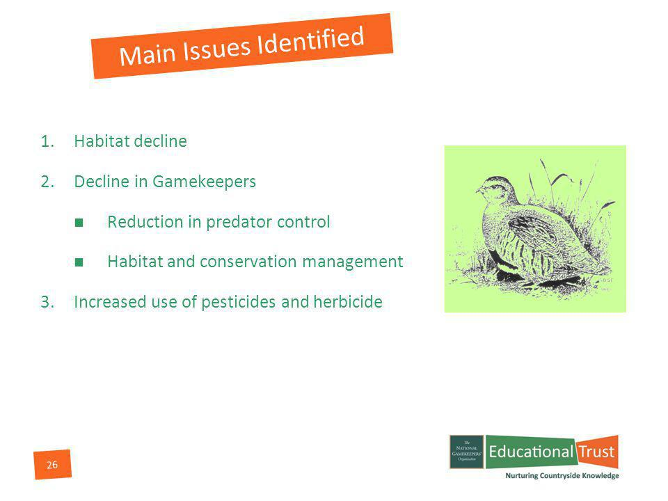 26 Main Issues Identified 1.Habitat decline 2.Decline in Gamekeepers Reduction in predator control Habitat and conservation management 3.Increased use of pesticides and herbicide
