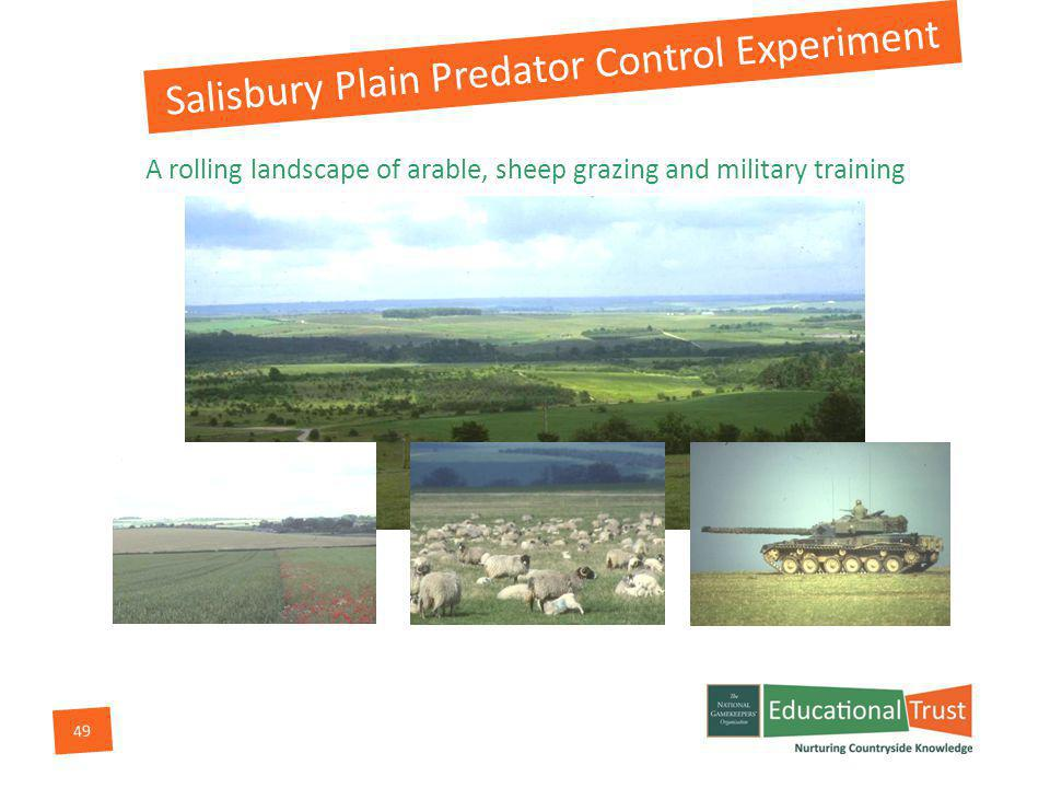 49 A rolling landscape of arable, sheep grazing and military training Salisbury Plain Predator Control Experiment
