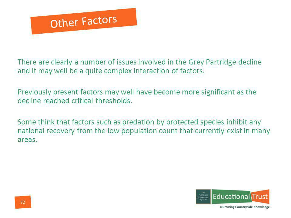72 Other Factors There are clearly a number of issues involved in the Grey Partridge decline and it may well be a quite complex interaction of factors.