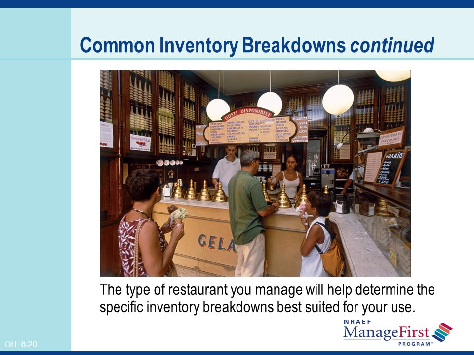 OH 6-20 Common Inventory Breakdowns continued The type of restaurant you manage will help determine the specific inventory breakdowns best suited for
