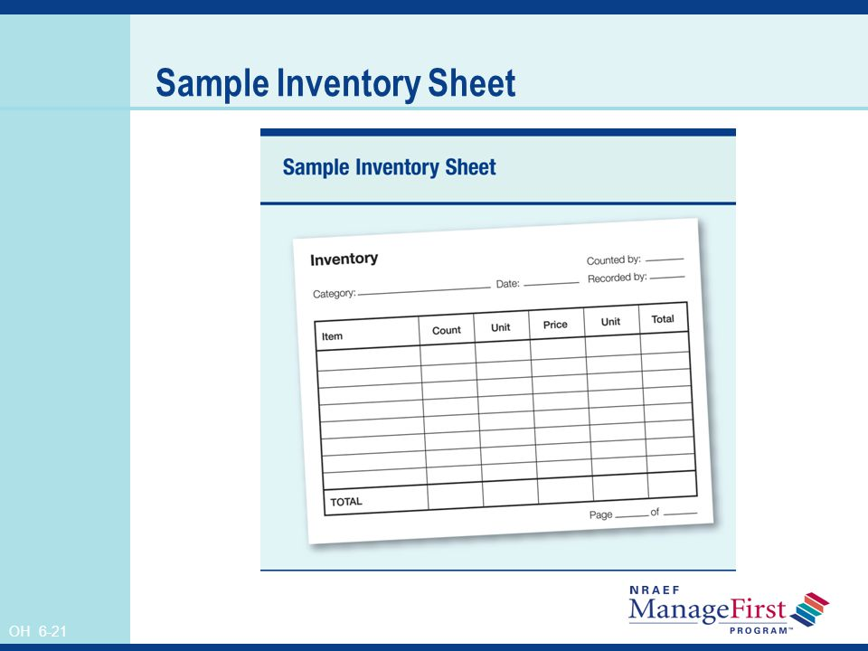 OH 6-21 Sample Inventory Sheet