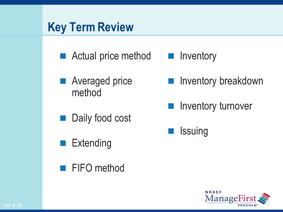 OH 6-28 Key Term Review Actual price method Averaged price method Daily food cost Extending FIFO method Inventory Inventory breakdown Inventory turnov