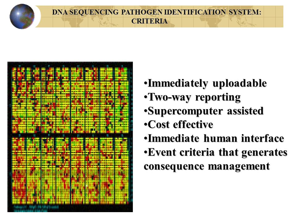 DNA SEQUENCING PATHOGEN IDENTIFICATION SYSTEM: DNA SEQUENCING PATHOGEN IDENTIFICATION SYSTEM:CRITERIA Immediately uploadableImmediately uploadable Two-way reportingTwo-way reporting Supercomputer assistedSupercomputer assisted Cost effectiveCost effective Immediate human interfaceImmediate human interface Event criteria that generates consequence managementEvent criteria that generates consequence management