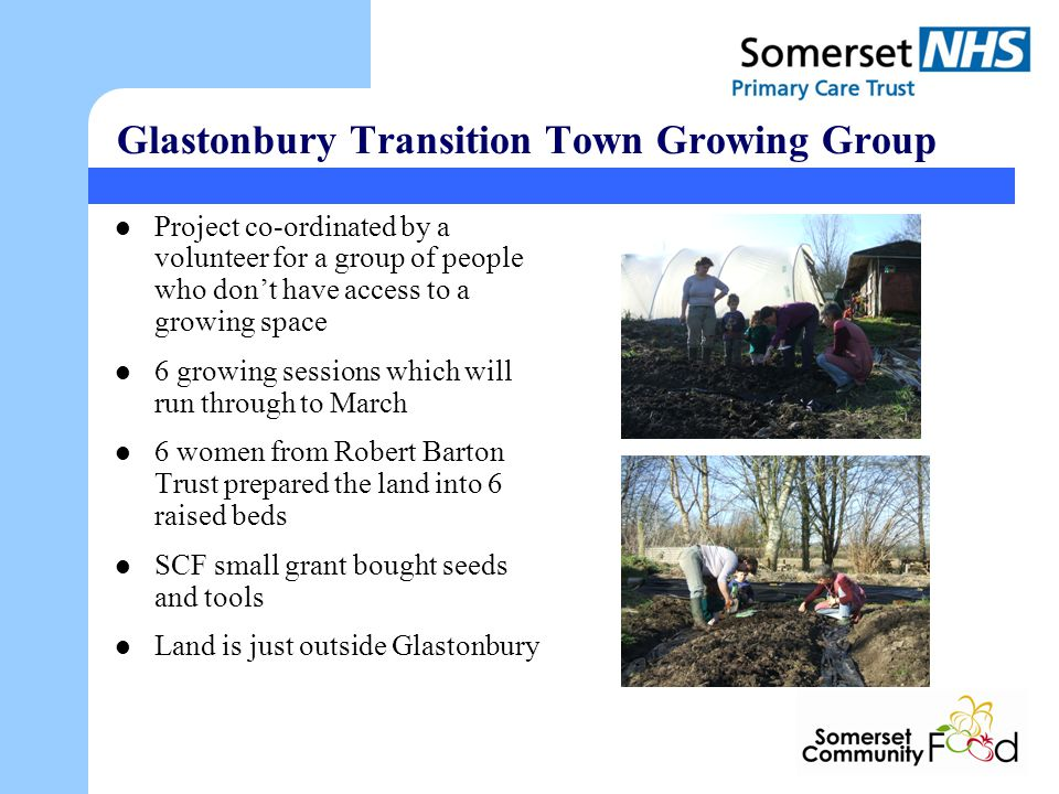 Glastonbury Transition Town Growing Group Project co-ordinated by a volunteer for a group of people who dont have access to a growing space 6 growing sessions which will run through to March 6 women from Robert Barton Trust prepared the land into 6 raised beds SCF small grant bought seeds and tools Land is just outside Glastonbury