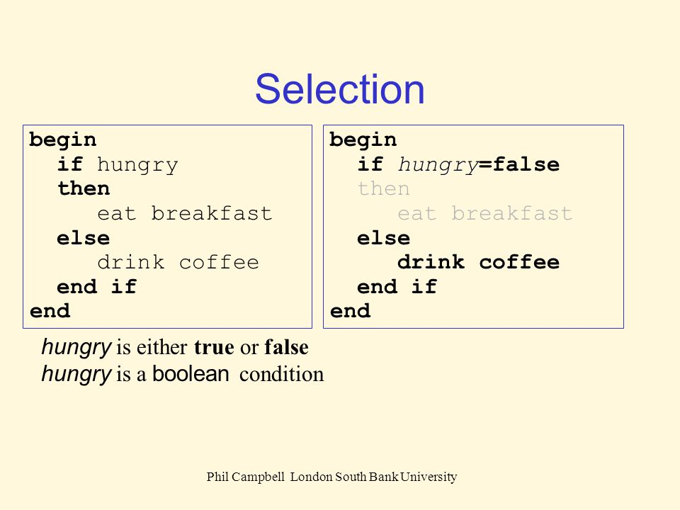 Phil Campbell London South Bank University Selection hungry is either true or false hungry is a boolean condition begin hungry if hungry=false then ea
