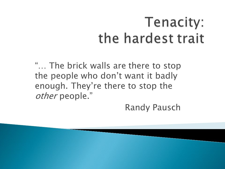… The brick walls are there to stop the people who dont want it badly enough. Theyre there to stop the other people. Randy Pausch