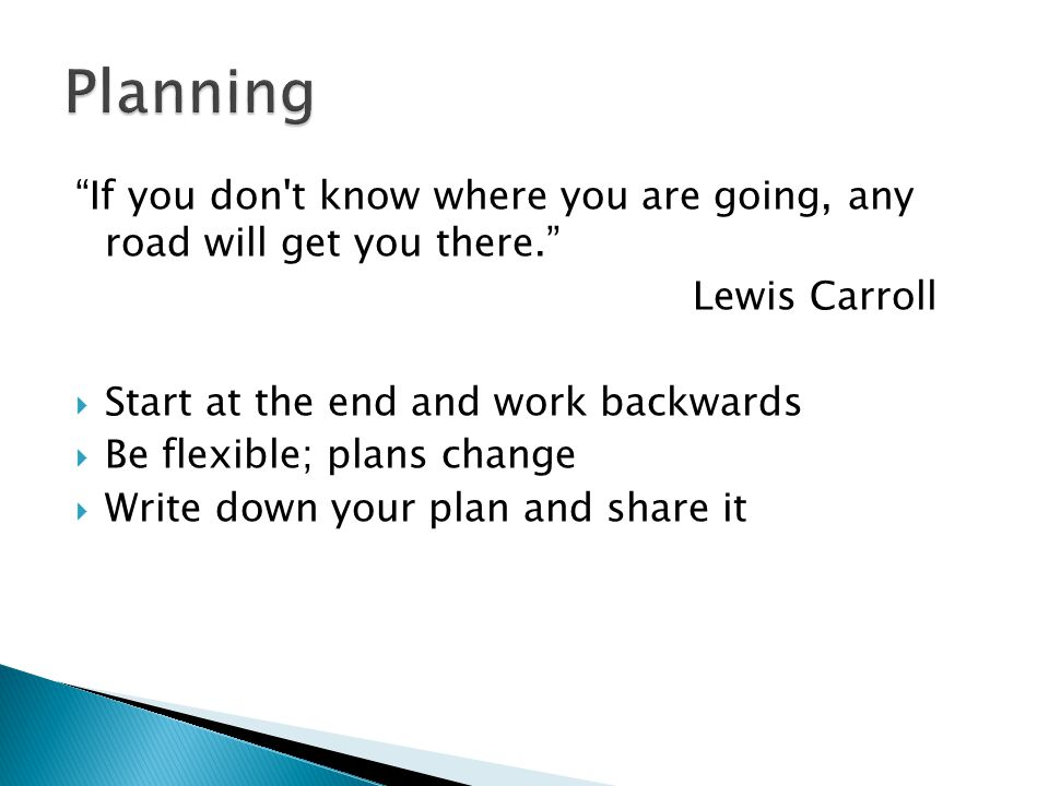 If you don't know where you are going, any road will get you there. Lewis Carroll Start at the end and work backwards Be flexible; plans change Write