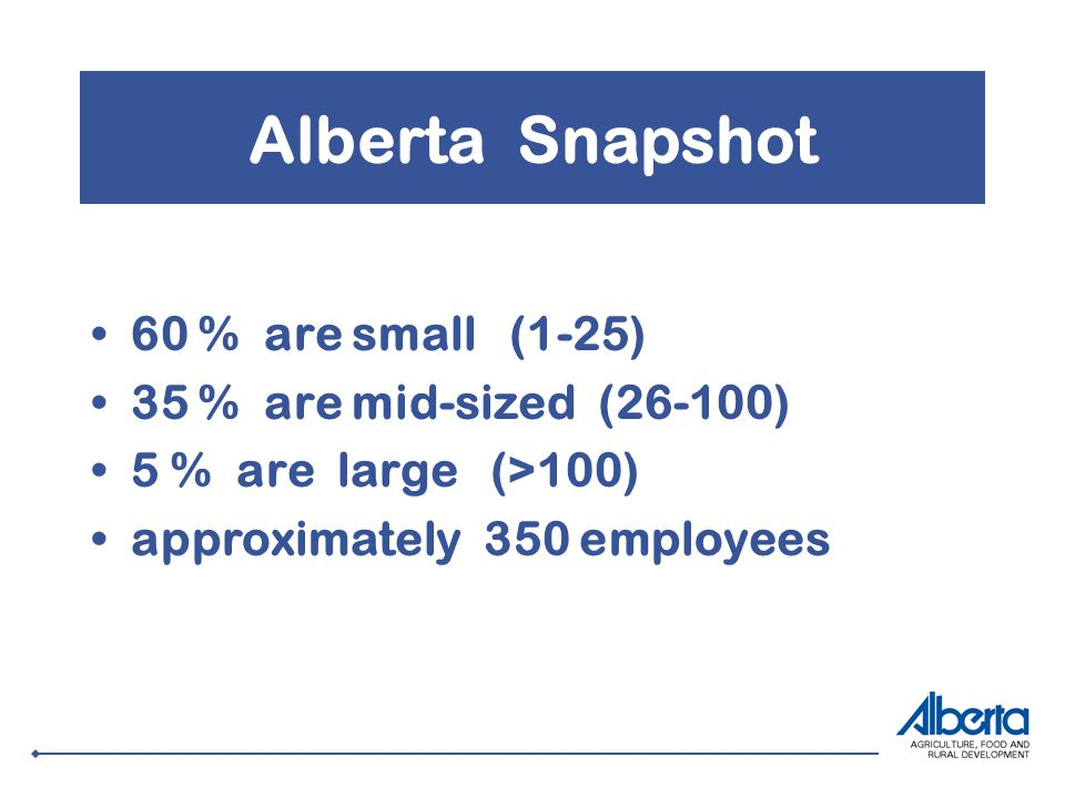 Alberta Snapshot 60 % are small (1-25) 35 % are mid-sized (26-100) 5 % are large (>100) approximately 350 employees