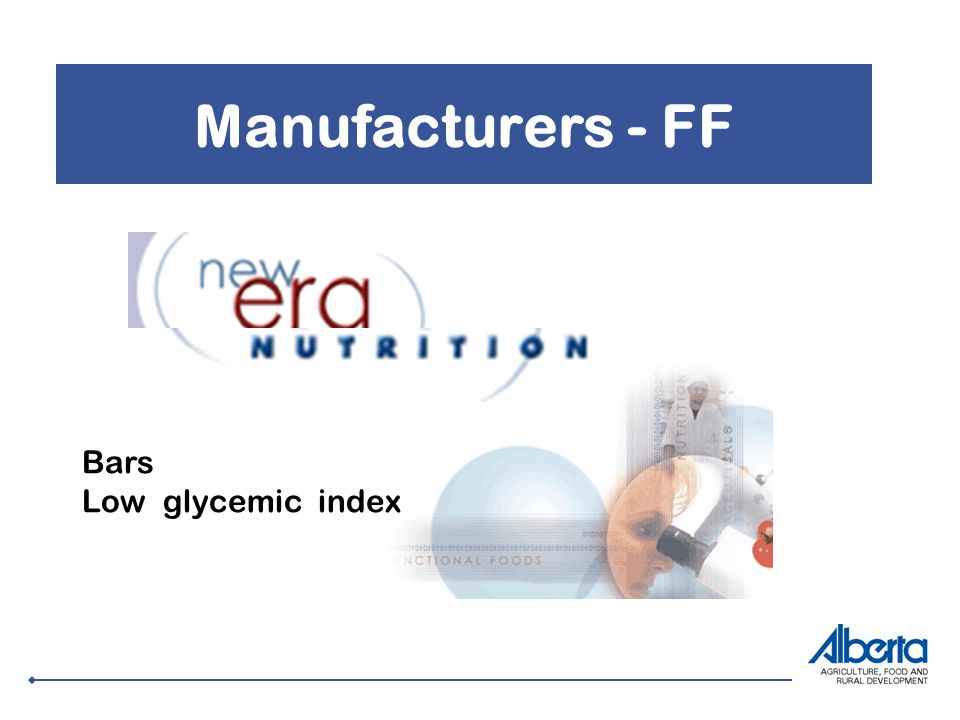 Manufacturers - FF Bars Low glycemic index