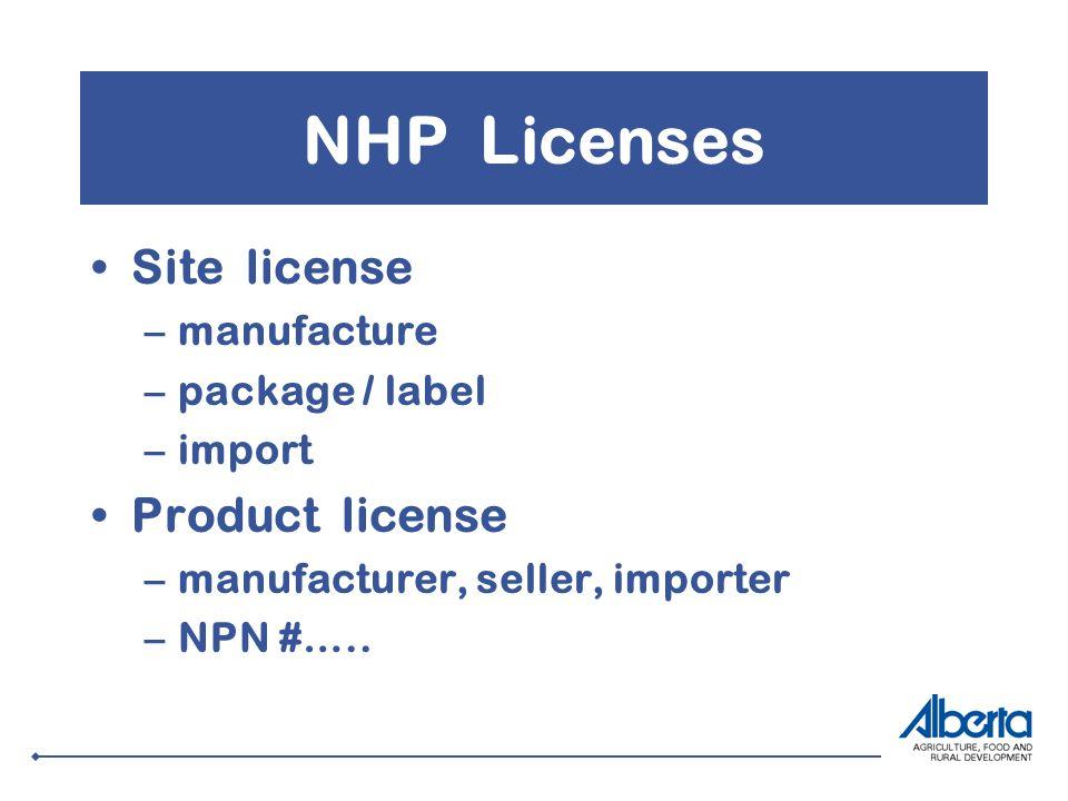 NHP Licenses Site license –manufacture –package / label –import Product license –manufacturer, seller, importer –NPN #…..