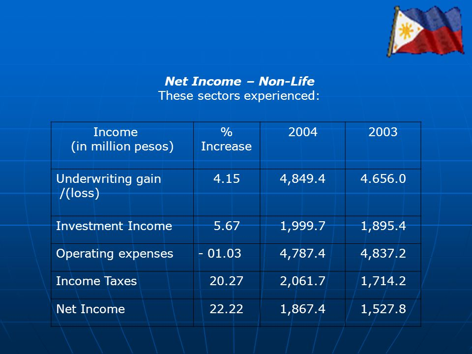 Net Income – Non-Life These sectors experienced: Income (in million pesos) % Increase 20042003 Underwriting gain /(loss) 4.154,849.44.656.0 Investment