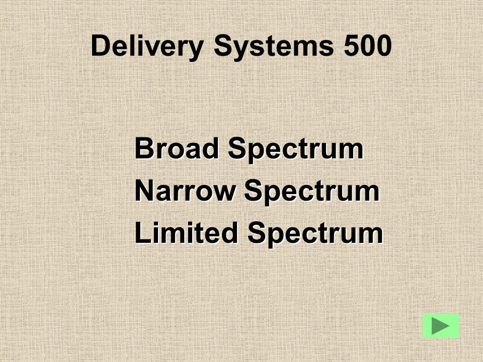 Delivery Systems 500 Broad Spectrum Narrow Spectrum Limited Spectrum