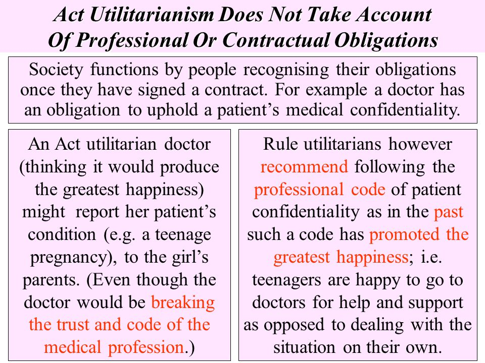 Act Utilitarianism Does Not Take Account Of Professional Or Contractual Obligations Society functions by people recognising their obligations once the