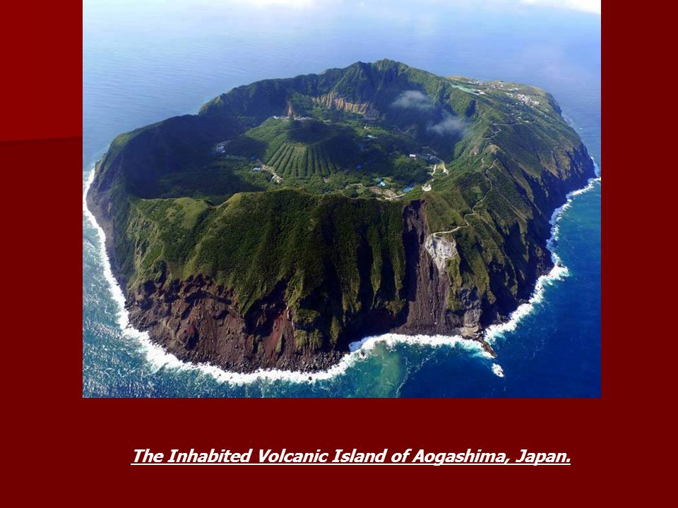 The Inhabited Volcanic Island of Aogashima, Japan.