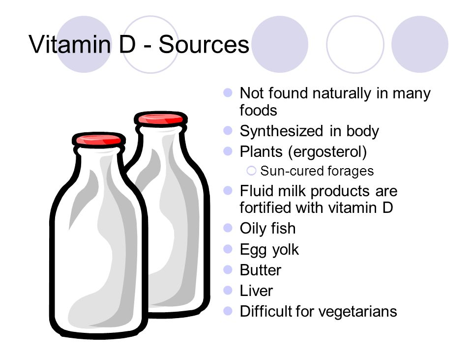 Vitamin D - Sources Not found naturally in many foods Synthesized in body Plants (ergosterol) Sun-cured forages Fluid milk products are fortified with vitamin D Oily fish Egg yolk Butter Liver Difficult for vegetarians