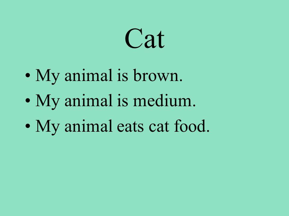 Cat My animal is brown. My animal is medium. My animal eats cat food.