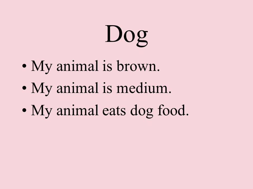Dog My animal is brown. My animal is medium. My animal eats dog food.