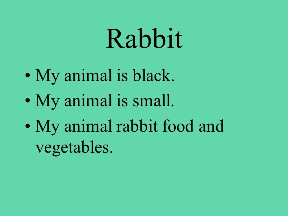 Rabbit My animal is black. My animal is small. My animal rabbit food and vegetables.