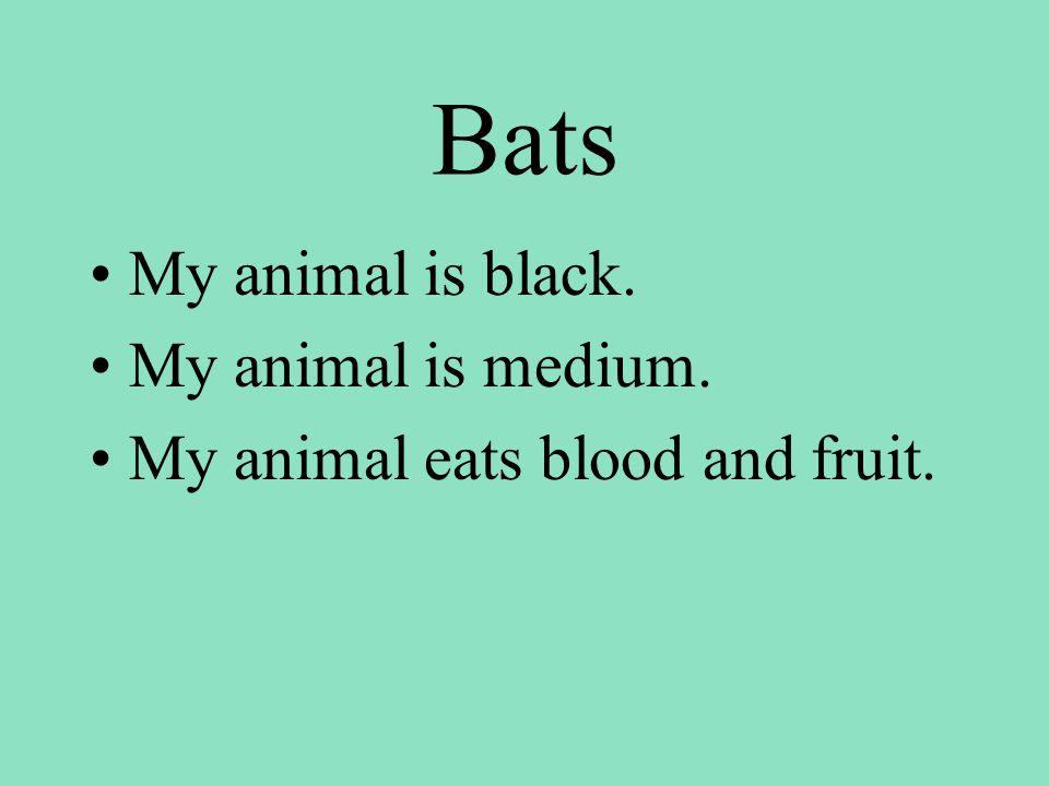 Bats My animal is black. My animal is medium. My animal eats blood and fruit.