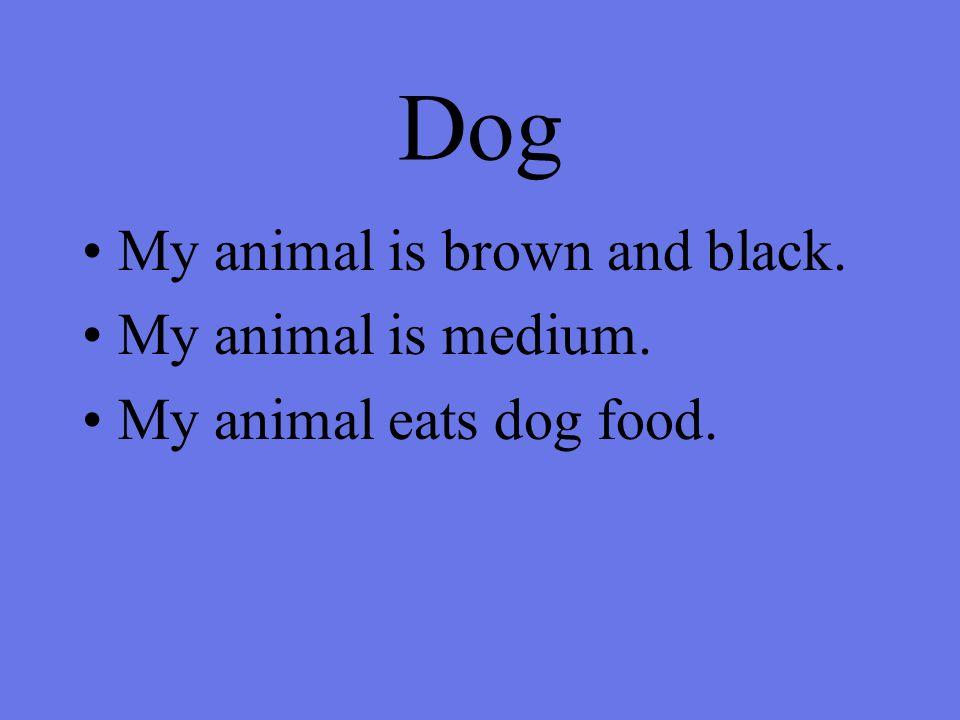 Dog My animal is brown and black. My animal is medium. My animal eats dog food.