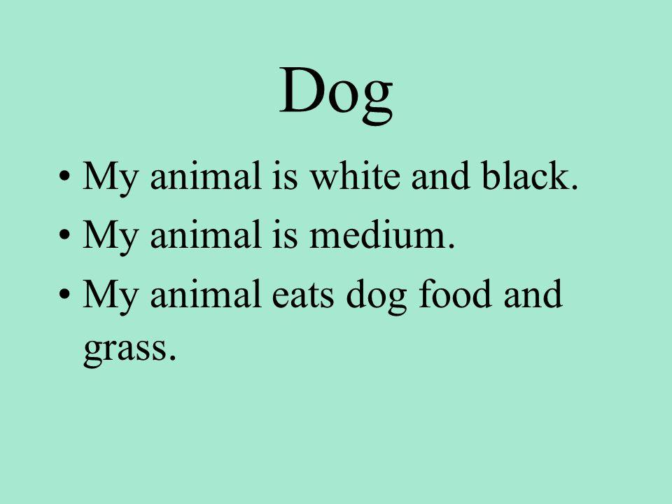 Dog My animal is white and black. My animal is medium. My animal eats dog food and grass.