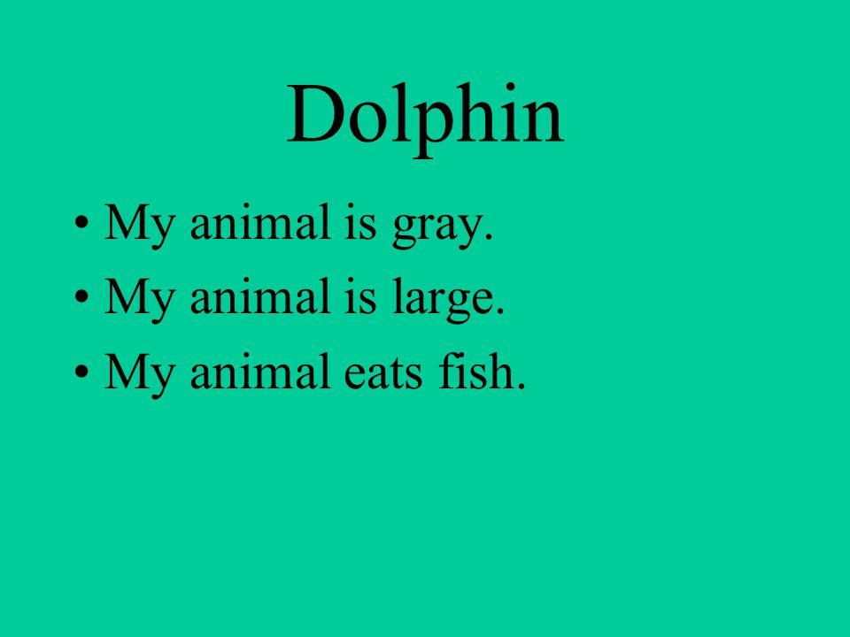 Dolphin My animal is gray. My animal is large. My animal eats fish.