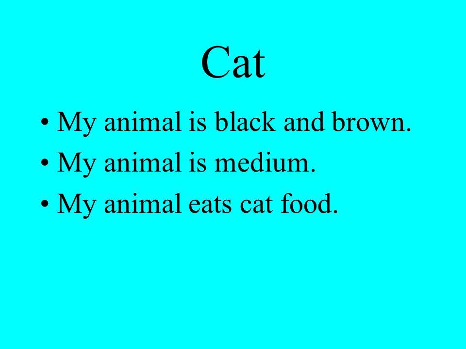 Cat My animal is black and brown. My animal is medium. My animal eats cat food.